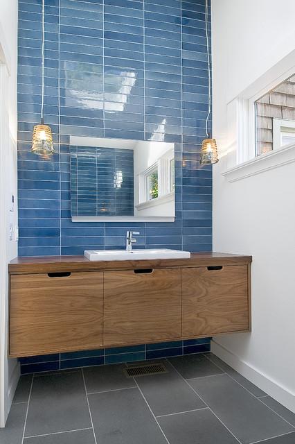 Walnut Floating Vanity  Contemporary  Bathroom  other