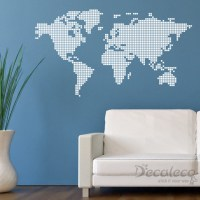SQUARED World Map Vinyl Wall Decal - Wall Decals - by Decaleco