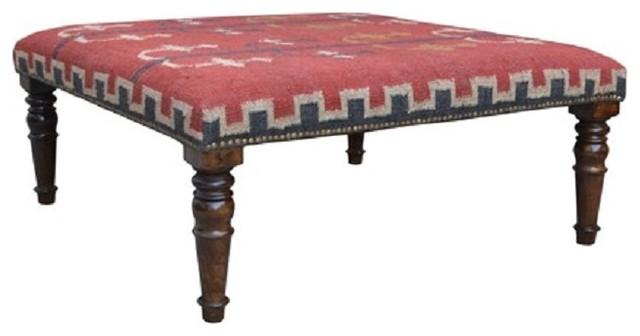Print Fabric Ottoman Coffee Table