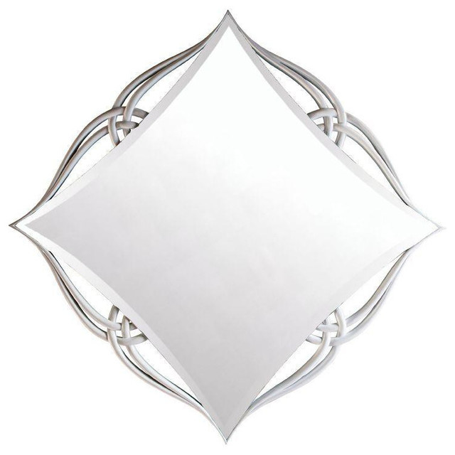 Diamond Shaped Mirror with Carved White Frame