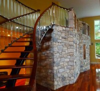 Curving Natural Thin Stone Interior Wall - Family Room ...