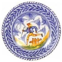 Spanish Majolica Country Folk Large Decorative Plate ...