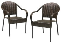 Rancho Outdoor Brown/Grey Wicker Stackable Chairs (Set of ...