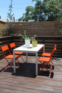 Orange and White Deck Furniture with IKEA Chairs and Table ...