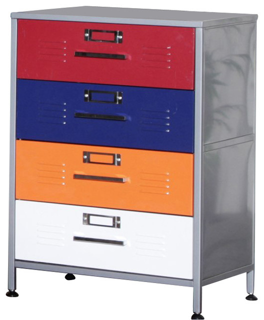 Elite Products Locker Multicolor 4Drawer Dresser  Contemporary  Dressers  by Cymax