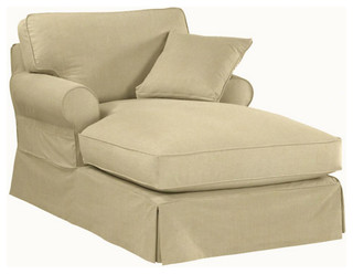 ballard designs dining chair slipcovers room hammock suzanne kasler signature 13oz linen baldwin chaise slipcover - transitional indoor ...