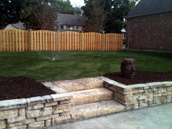 rosetta stone patio and seat wall