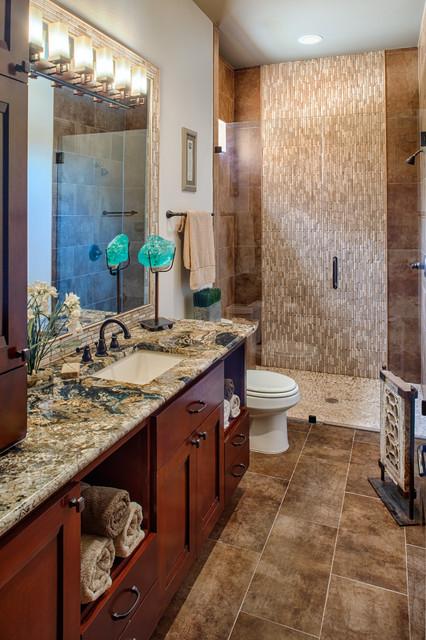 Modern Mountain Lodge - Contemporary - Bathroom - houston ...