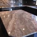 Netuno bordeaux granite on cherry espresso cabinets modern kitchen
