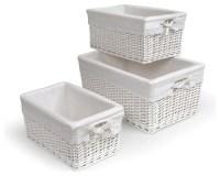 Badger Basket Three Basket Set, White - Contemporary ...