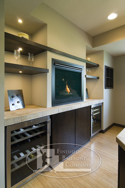 Basement Bar with Fireplace  Contemporary  Basement  minneapolis  by Finished Basement Company