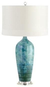Perugia Coastal Beach Aqua Blue Green Ceramic Glazed Lamp ...