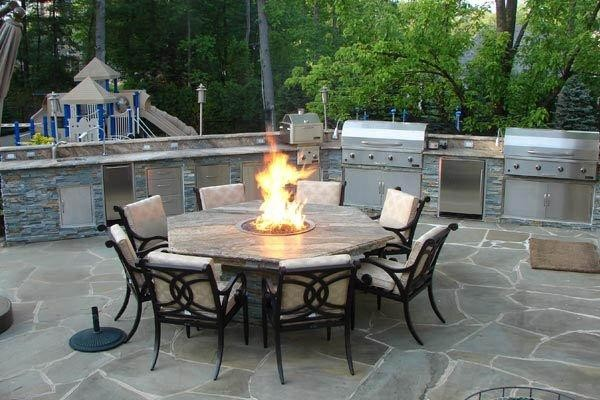 Outdoor Kitchen with Fire Pit Table  Traditional  Patio