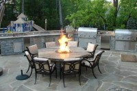 Outdoor Kitchen with Fire Pit Table - Traditional - Patio ...