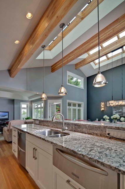 Kitchen With Vaulted Ceiling And Skyroof Contemporary