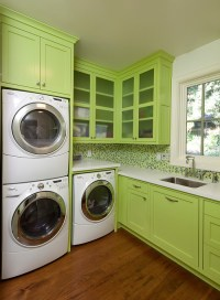 How deep is the upper cabinet above the stacked washer and ...