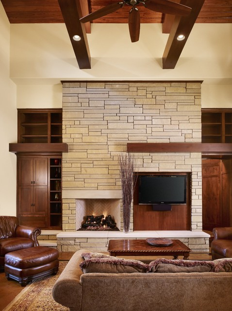 Rocky River Living  Craftsman  Living Room  austin  by Cornerstone Architects