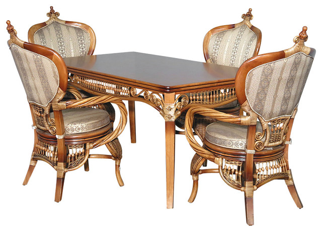 5 Pc Rattan Elizabethan Table W/ 4 Arm Chairs Dining Set