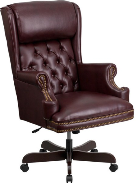 traditional leather office chair Flash Furniture High Back Tufted Burgundy Leather Executive Office Chair - Traditional - Office