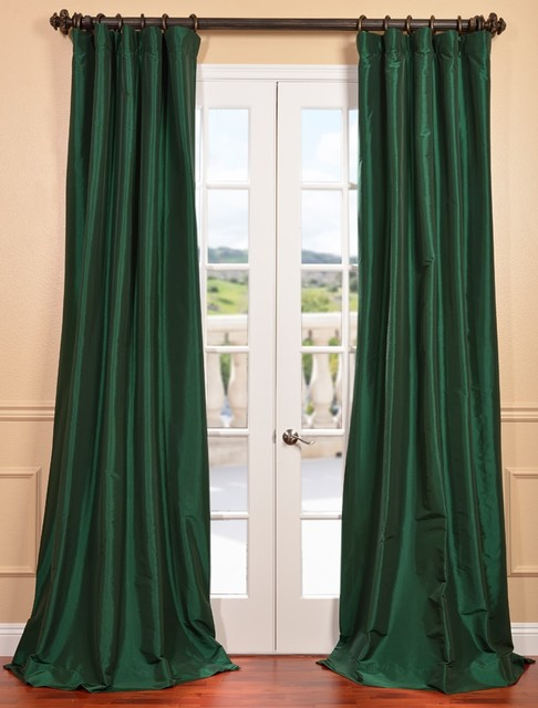 Emerald Green Faux Silk Taffeta Curtain Contemporary