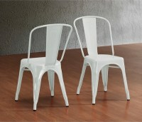 Tabouret Bistro Steel Side Chairs, White - Industrial ...