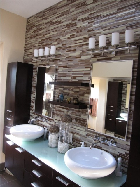 Elegant Contemporary Backsplash  Contemporary  Bathroom