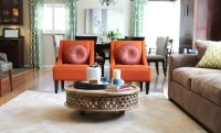 Orange Transitional Chairs and Rustic Coffee Table ...