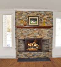 Stacked stone fireplace reface
