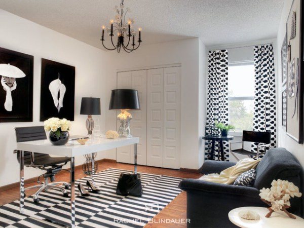 black and white home office Black & White Office - Eclectic - Home Office - san francisco - by Rachel Blindauer Interior Design