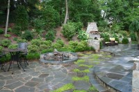 Flagstone Patio and Fieldstone Fireplace - Contemporary ...