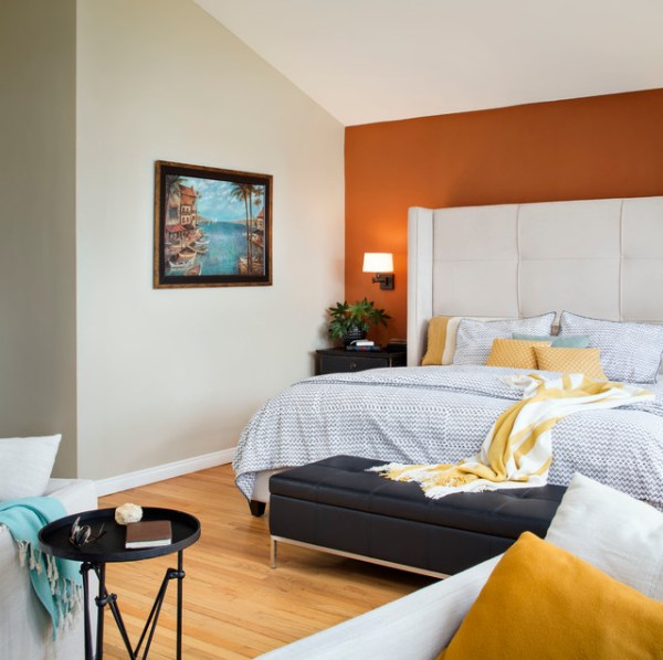 sunset orange for accent wall bedroom Sunset Cliffs - Transitional - Bedroom - san diego - by