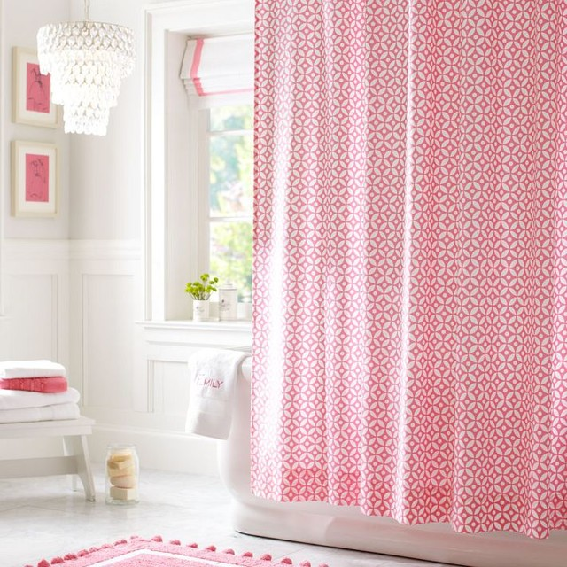 Petal Dot Shower Curtain Bright Pink  Contemporary