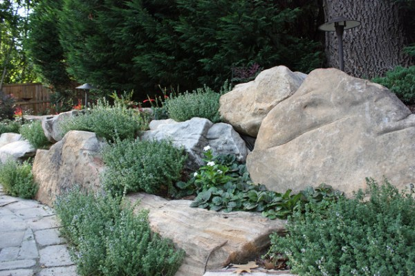 natural boulder wall with lemon-scented