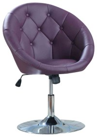 Round Tufted White Swivel Chair Dining Chairs, Pink/Purple ...
