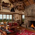 Log cabin living room traditional family room san francisco by