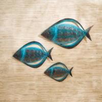 Fish Metal Outdoor Wall Art - Set of 3 - Modern - Artwork ...