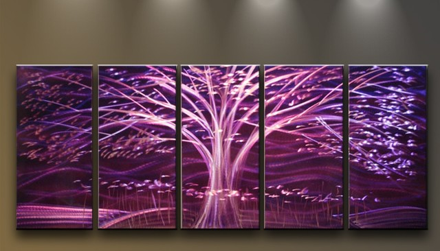 Metal Wall Art Modern Sculpture 5 Panels Tree Purple Night