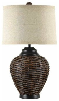 Dark Rattan Table Lamp - Table Lamps - other metro - by ...