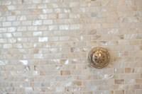 Mother of pearl tile backsplash