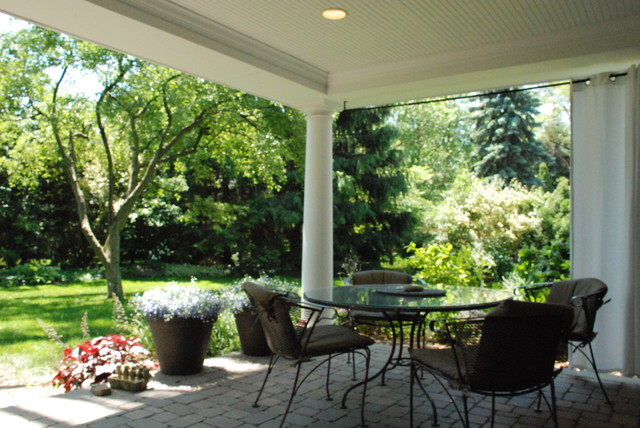 cape cod style living room design black and burgundy open air backyard porch - traditional detroit