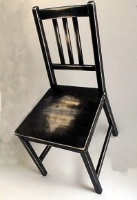 hand distressed 'worn out' dining chair, Black on Natural