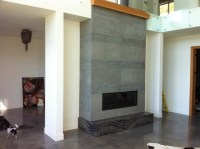 Floor to Ceiling Modern Concrete Fireplace Surround ...
