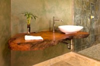 Open Shower & Floating Wood Counter - Asian - Bathroom ...