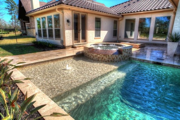 rectangular pool with walkover