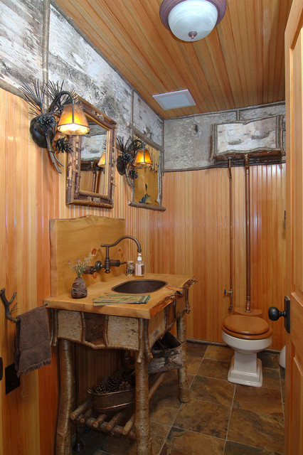 arts and crafts kitchen cabinets bowls adirondack camp - traditional bathroom boston by ...
