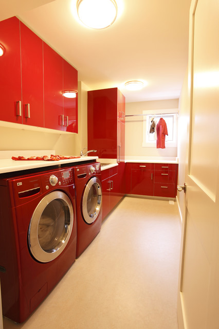 Red Laundry Room contemporary laundry room