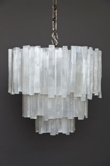 kitchen ceiling fans with lights white cabinet doors three-tier selenite chandelier contemporary-chandeliers