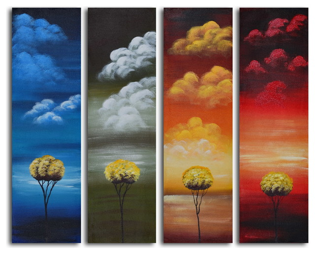 living room floor vases console for many moods of solitude hand painted 4 piece canvas set ...