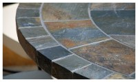 "OCEANE 49"" & 63"" MOSAIC SLATE STONE GARDEN PATIO TABLE"