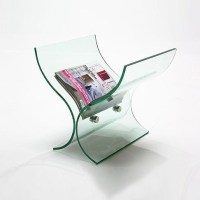 Glass Curved Magazine Rack